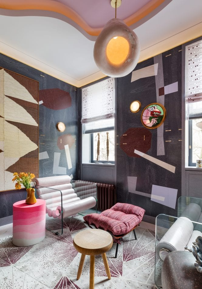 """Katherine Newman Design blended art and architecture to create a captivating room called """"The Pink Dragon Study"""" at this year's charity Kips Bay Decorator Show House in New York City."""